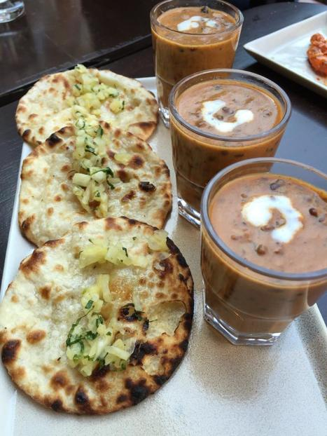 Blue cheese naan with daal makhani